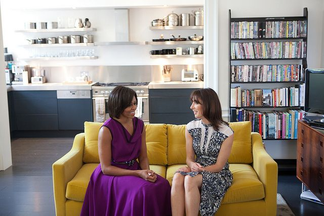 First Lady Michelle Obama and Samantha Cameron, wife of British Prime Minister David Cameron, talk before having tea in the private residence at Downing Street in London, England, May 24, 2011.