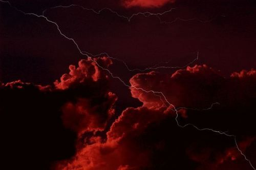 Red Lightning Storm | sunset sky storm night red lightning clouds ...