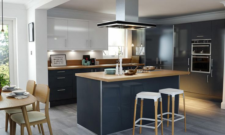 Wren Kitchens: Pacrylic Graphite Gloss - Dare to be dark with this contemporary gloss kitchen. The light oak worktops contrast the deep graphite tone to give a touch of country to this modern design.