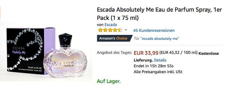 #Escada Absolutely Me Eau de Parfum Spray, 1er Pack (1 x 75 ml) für 33,99€ (statt 39,75€) https://www.billigerfinder.de/drogerie/1517902358018-escada-absolutely-me-eau-de-parfum-spray-1er-pack-1-x-75-ml
