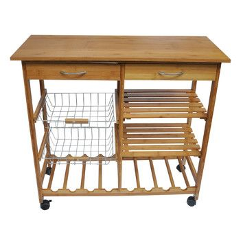 Features: -2 Pull out drawers for storage. -Multiple shelves. -Pull out baskets. -8 Wine bottle slots. -Weather resistant: No . Product Type: -Kitchen Cart. Base Finish: -Bamboo. Counter Finis