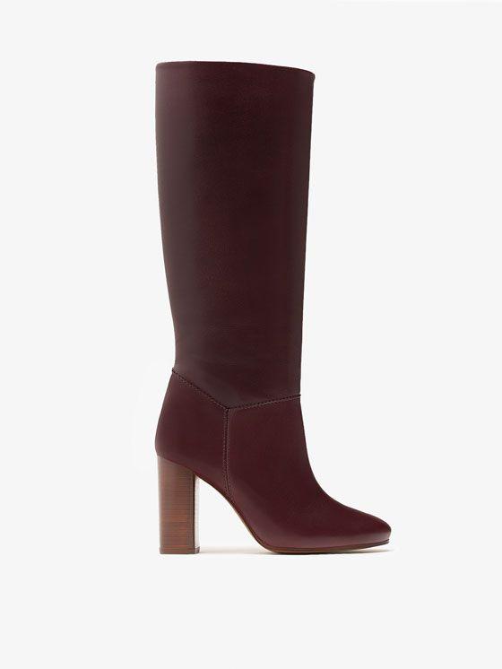 BURGUNDY LEATHER BOOTS voor WOMEN - Shoes - Boots van Massimo Dutti voor de herfst winter 2016 à 199. Natuurlijke elegantie!