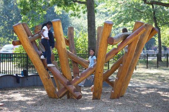 Ryerson's climber at Boston's Esplanade Playspace. (Courtesy Romana Vysatova)