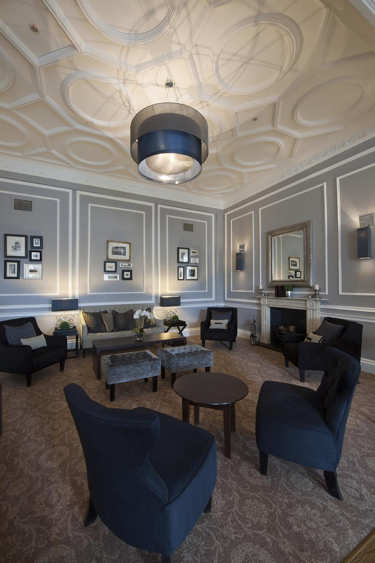 The Roxburghe Hotel, Edinburgh. A listed Georgian Building with a stylish grey interior by Glasgow based Interior Designers, Occa Design. Feature ceilings, moulded panelling, classic and contemporary furniture.