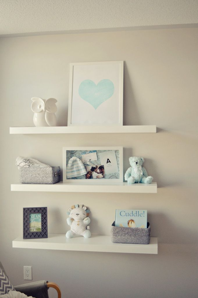Cute, simple shelf styling in the nursery - Project Nursery