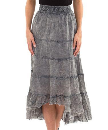 Love this Black Denim Wash Hi-Low Skirt by Kushi by Jasko on #zulily! #zulilyfinds