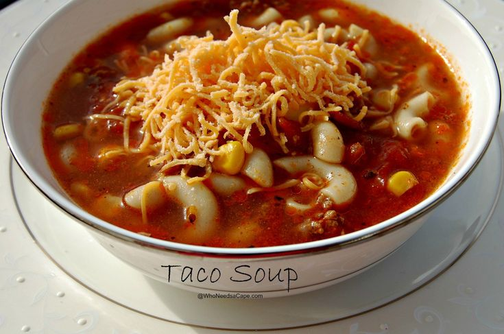 Taco Soup  Ingredients    1 1/2 pounds of ground beef  1 taco seasoning packet (or make your own)  3 32 ounce cartons of beef broth  1 onion, chopped  1 tsp cumin  1/2 - 1 tsp black pepper  1/2 -1 tsp white pepper  2 cans of corn  1 can of stewed tomatoes  1 can of diced tomatoes  2 cups dry pasta
