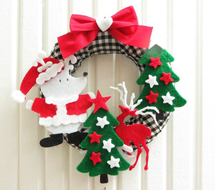 Excited to share the latest addition to my #etsy shop: Black-White Checked Fabric Wreath, Christmas Themes Embellishment With Felt Noel Trees and Santa Deer, Bow #housewares #homedecor #wreath #wallhanging #christmasgift #christmastree #noeltree #red http://etsy.me/2hxkF1d