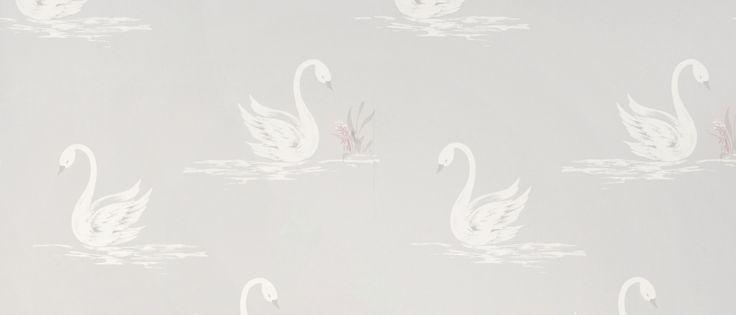 Swans Silver Wallpaper at Laura Ashley