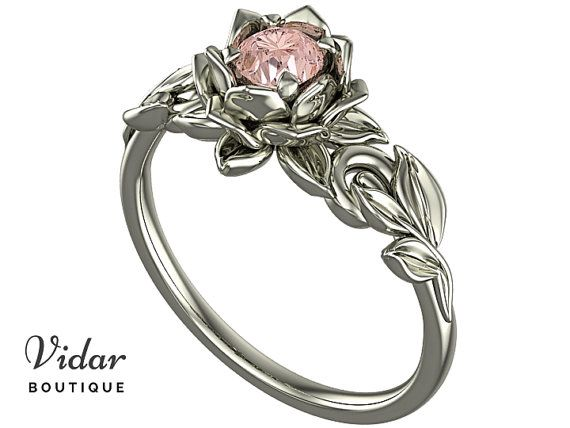 Morganite Engagement Ring,Unique Engagement Ring,Flower Engagement Ring,Lotus Engagement Ring,Floral Engagement Ring,Leaves Engagement Ring