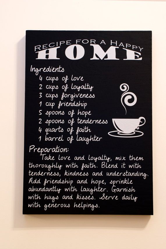 Customizable Recipe for a Happy Home Quote by OPGDesigns on Etsy