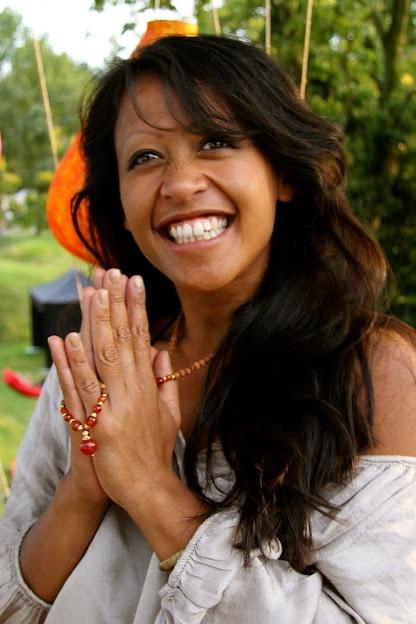 Chantal van de Meij  yoga teacher and co founder of Natural Yoga  wearing Pray & Love mala www.malaspirit.nl