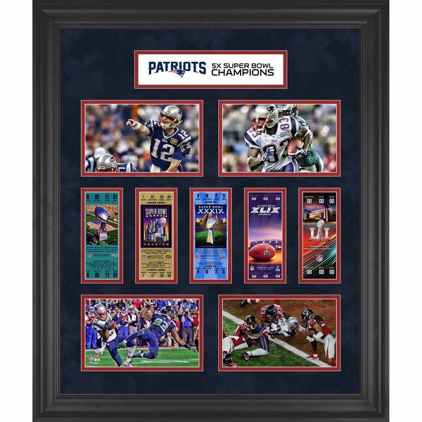 "New England Patriots Fanatics Authentic Framed 23"" x 27"" 5-Time Super Bowl Champion Ticket Collage - $149.99"