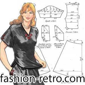 Женский летний костюм 80-х Летний костюм из хлопчатобумажной ткани, состоит из юбки и блузки. Рукав короткий рубашечного покроя. Юбка с карманами, присобрана по линии талии. В качестве отделки в этой модели используется вышивка.  К модели прилагается уменьшенная выкройка-схема, по которой можно построить выкройку в натуральную величину