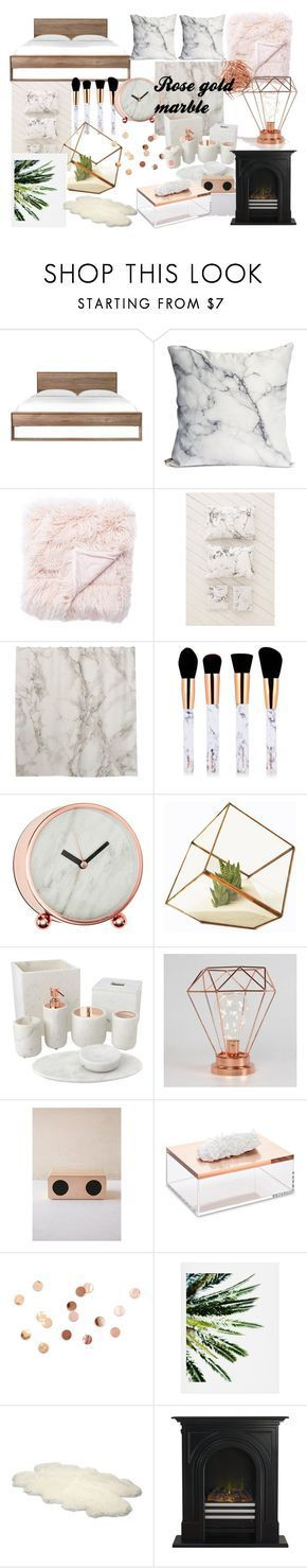"""""""rose gold marble room decor"""" by alilaforce on Polyvore featuring interior, interiors, interior design, home, home decor, interior decorating, Jaipur, Urban Outfitters, Home Decorators Collection and Mapleton Drive"""