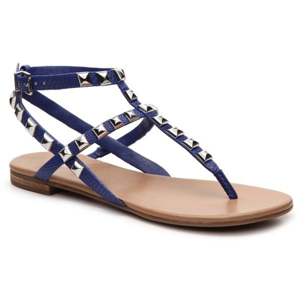 BCBGeneration Glorina Embossed Flat Sandal | DSW ($50) ❤ liked on Polyvore featuring shoes, sandals, bcbgeneration, flat sandals, bcbgeneration shoes, bcbgeneration sandals and flat shoes