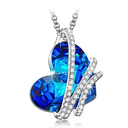MASOP Sterling Silver Infinity Love Necklace for Women made with Heart Shape Ocean Blue Swarovski Crystal Pendant zqiMXAUMT