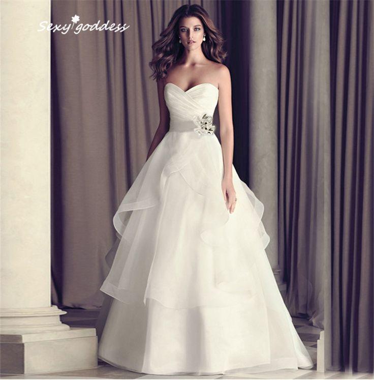 Sexy New Designers White Organza Wedding Dress 2015 With Elegant Sweetheart Flowers vestido de noiva