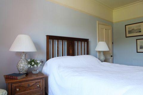 Pale blue guest bedroom