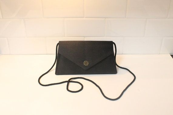 Black Purse Evening Bag Clutch Purse Shoulder by ClockworkRummage