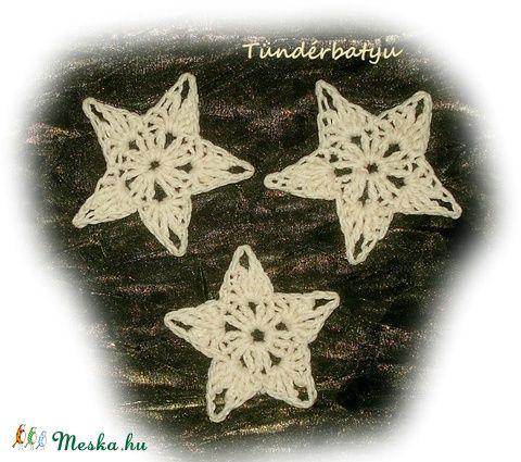 Horgolt  bézs csillag dekoráció (Tunderbatyu) - Meska.hu
