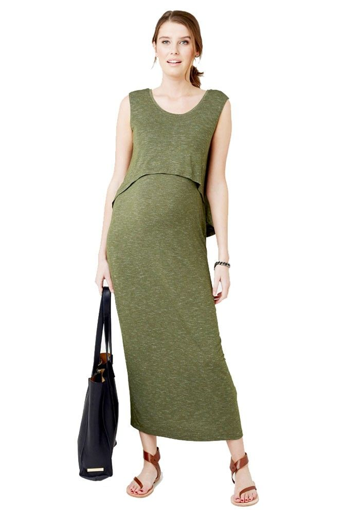 53905119095 This nursing maxi dress is anything but simple. Its swing back design and  its soft fabric make this dress super stylish
