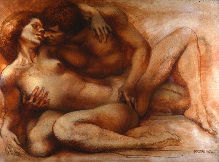 Watercolor Painting Of Naked Man An Woman Enbrassing Love -5377