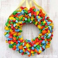 Hosting a birthday party or baby shower? Why not create a celebration wreath for your front door to welcome guests?! You can use balloons that are rainbow colored or pick specific colors to match your party's decor!