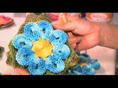 Flor Thais em crochê (passo a passo) - Cristina Luriko - YouTube