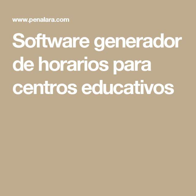 Software generador de horarios para centros educativos