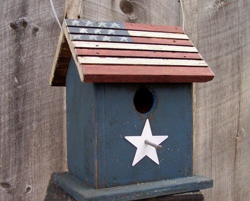 Primitive Americana Flag Birdhouse Red White by birdhouseaccents