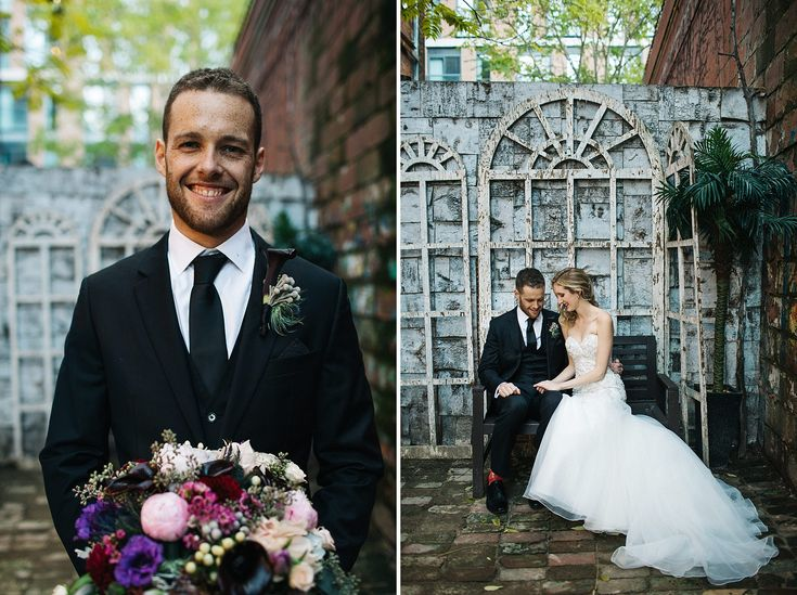 Groom Style, Purple Wedding Bouquet, Fall Wedding Bouquet, Berkeley Church Toronto Wedding Photographer Jennifer van Son