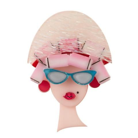 Fancy New 'Do' (Pink Resin Brooch)