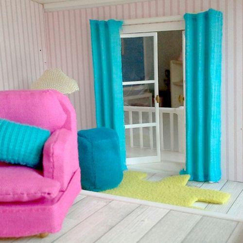 zasłonki do domku dla lalek :: zestaw biało-niebieski fufurufu Lundby