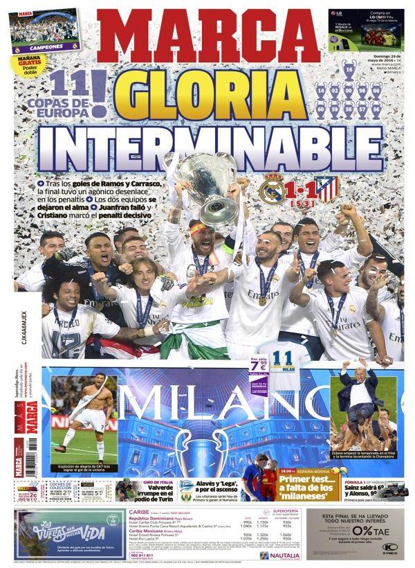 Portada del Diario Marca, periódico madrileño, en el cuál sale reflejando por todo lo alto  la victoria del Madrid.