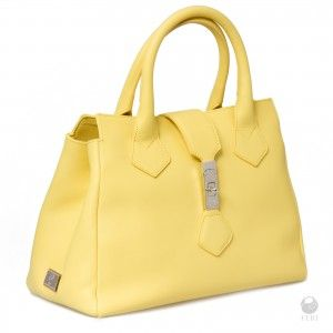 Come taste the difference of the FERI Primavera Genuine Leather Yellow Solar Purse;  Get hooked on this Genuine leather handbag with customized latch  and a smooth Silver toned FERI hardware.  Made with Hand quality top stitching and   Metal feet to protect bottom of bag. Embossed with FERI on the bottom of the bag.  It has 2 interior compartments separated with zippered divider - Satin lining with zippered pocket and secured cell phone pouches.  Its  Dimensions: 32cm x 24cm x 12cm