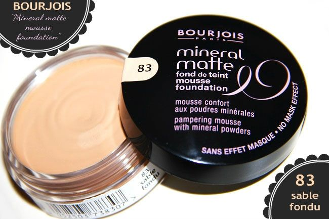 Bourjois: Mineral matte mousse foundation in 83 (sable fondu) | Bourjois foundations, mousse foundations, drugstore foundations