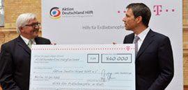 Die Deutsche Telekom AG engagierte sich ebenfalls für die Betroffenden des Erdbebens. Die Mitarbeiter und Mitarbeiterinnen des Konzerns spendeten 430.000 Euro. Das Unternehmen verdoppelte diesen Betrag, sodass ein Spendenscheck über 860.000 Euro überreicht wurde. Herzlichen Dank für die tolle Unterstützung!