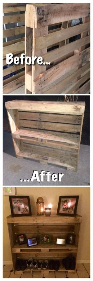 Pallet entry table. Reclaimed and up cycled! Pallet project, pallet wood, rustic shoe rack. by Big Sunshine by joanne