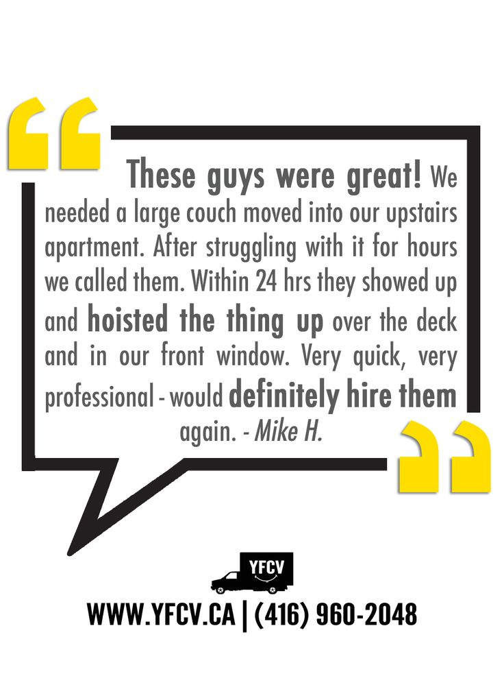 These guys were great! #Testimonials #YFCV 416-960-208 Your Friend with a Cube Van #Toronto #Movers www.yfcv.ca #Moving #Packing