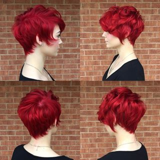 Adorable pixie cut and red hair!