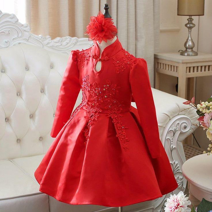 Atacado vestido de festa infantil 2016 Meninas Novas Moda Bordado Vermelho Vestido de Festa de Natal da menina da criança vestido de natal em Vestidos de Mãe & Kids no AliExpress.com | Alibaba Group