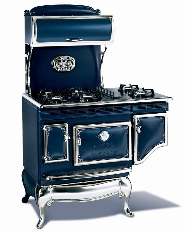 1867 Six burner Victorian range shown in Liberty Blue with gas cooktop 7600.00
