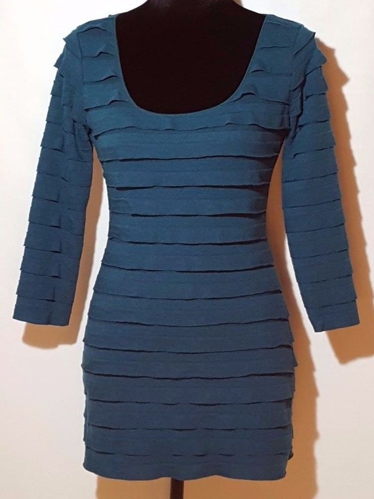 Max Studio Womens Sexy Teal Tiered Mini dress Long Shirt 3/4 Sleeves Size S #MaxStudio #Tiered