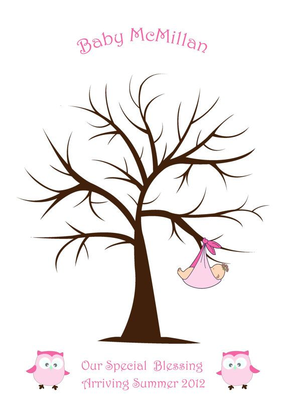 Sweet Swirly Fingerprint or Thumbprint Tree with Baby Girl and Owls, 11x16  Guest Book alternative for Baby Shower or Visitors