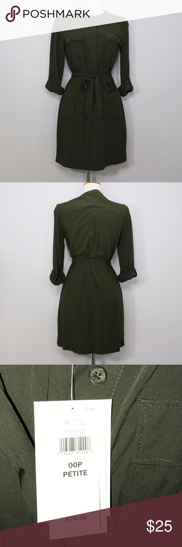 👗💋Banana republic Forest Green T-shirt dress 00P 👗💋Banana republic Forest Green T-shirt dress 00P💋👗 only tried on a few times. Never worn. Tags still on. Retails $79.99. Changing sizes so sadly selling my 00's. belt missing! Sorry. I can't find it. Think since the material is soft it slipped off the hanger during my move. Banana Republic Dresses Midi