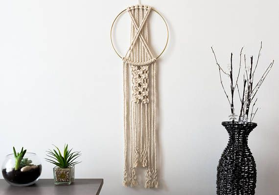 MODEL: NOVEL  This modern dream catcher is crafted with chunky twisted natural cotton rope. It looks beautiful on an accent wall or against a door. It is the perfect gift for anyone who loves modern design and clean lines.  ❤ SIZE Macrame: the height is 33 inches and 10 inches wide (84