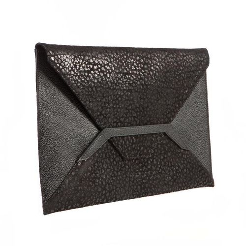 Detail Black Leather Envelope Clutch