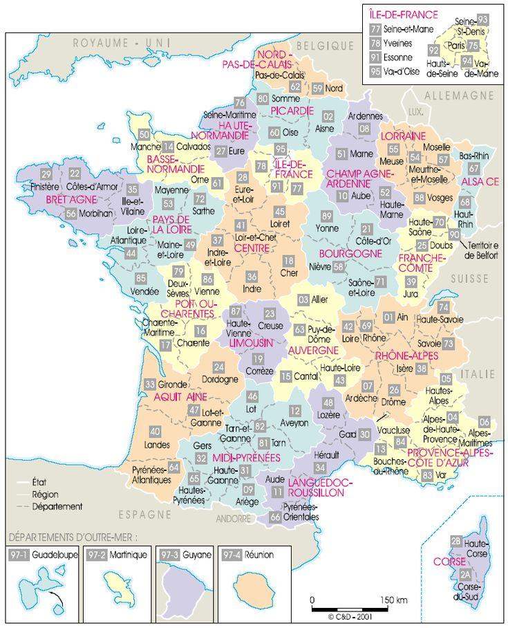 La carte de France actuelle
