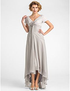 Lanting Bride® Trapèze Grande Taille / Petite Robe de Mère de Mariée  Asymétrique Manches Courtes Mousseline de soie / Dentelle -